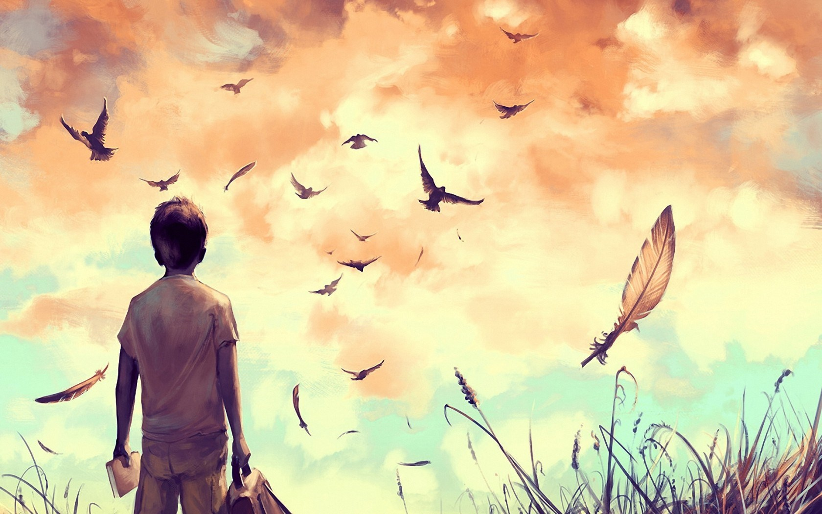 Amine drawing art boy birds feathers nature alone field